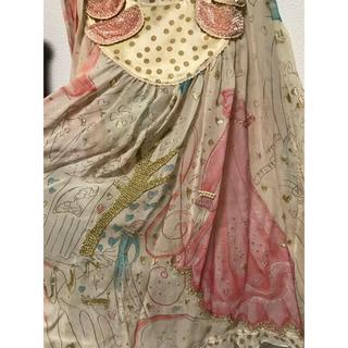 ツモリチサト(TSUMORI CHISATO)のツモリチサト 新品 完売 シルク ガール 猫 ドレス プリント スカート ペチ付(ロングスカート)