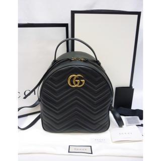 グッチ(Gucci)の超美品 GUCCI GG ブラック リュック キルティングレザー カーフスキン (リュック/バックパック)