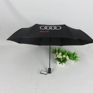 ②AUDI高品質☆ノヴェルティの折りたたみ傘/黒(非売品)アンブレラ紳士用/新品(傘)