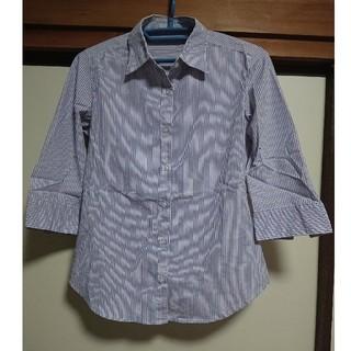 ジーユー(GU)のGU七分袖 ストライプシャツ【即購入可】(シャツ/ブラウス(長袖/七分))