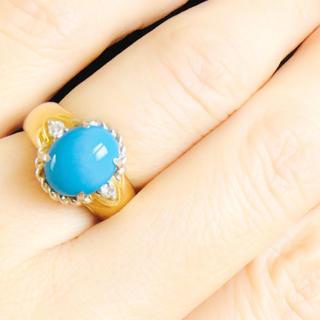 トルコ石 ターコイズ  ダイヤモンド 18K プラチナ900 リング(リング(指輪))