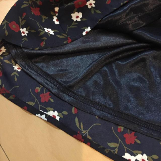 しまむら(シマムラ)の花柄 2way トップス ネックレス付 ネイビー レディースのトップス(カットソー(長袖/七分))の商品写真