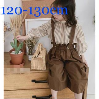 パンツ 肩紐 春服 子供服 吊り ワイドパンツ サスペンダー 新品 130cm(パンツ/スパッツ)
