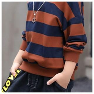新品 男女兼用 キッズ ボーダー 柄 Tシャツ 長袖 薄手 可愛い ブラウン(Tシャツ/カットソー)