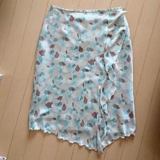 アルファキュービック(ALPHA CUBIC)のアシンメトリー スカート グリーン系(ひざ丈スカート)