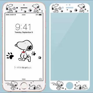 iPhone 6/7/8☆スヌーピー☆強化ガラスフィルムホワイト(保護フィルム)