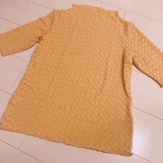 ジーユー(GU)のgu イエローレーストップス(カットソー(半袖/袖なし))