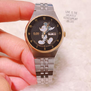 アルバ(ALBA)の【ALBA】ミッキー日付つき腕時計✩︎ややキズあり✩︎稼働品(腕時計)