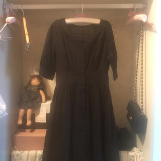 france vintage black onepiece.(ひざ丈ワンピース)