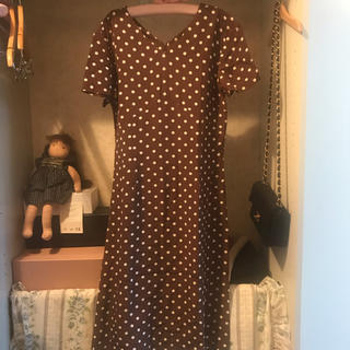 vintage dot onepiece.(ひざ丈ワンピース)
