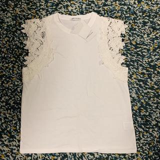 ザラ(ZARA)の新品 ノスタルジア レース袖カットソー 白(カットソー(半袖/袖なし))