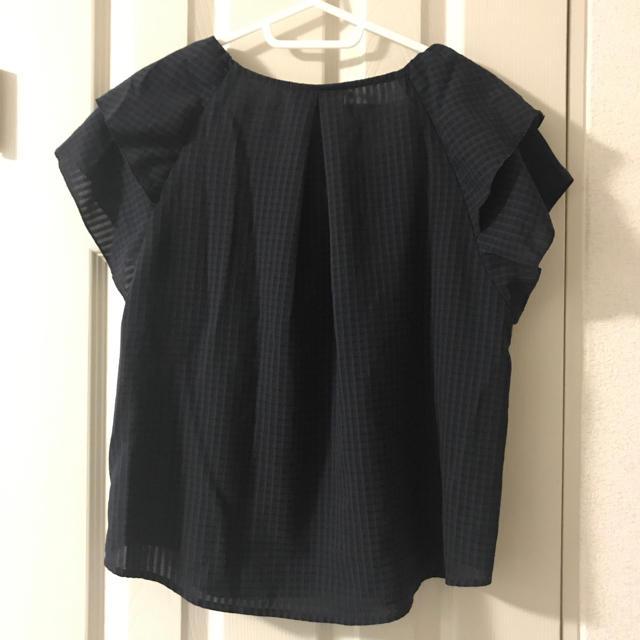 GU(ジーユー)のGU ブラウス ラッフル ネイビー レディースのトップス(シャツ/ブラウス(半袖/袖なし))の商品写真