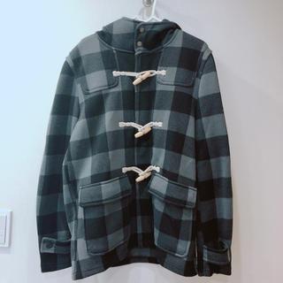 ジーユー(GU)の美品 GU ダッフルコート 灰色 ブラック ブランド ユニクロ メンズ xl 春(ダッフルコート)