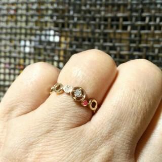K18ピンクゴールドダイヤリング(リング(指輪))