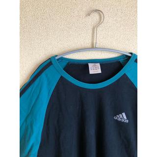 アディダス(adidas)の古着 アディダス ロンT グリーン ブラック ストリート モード スポーツ(Tシャツ/カットソー(七分/長袖))