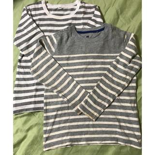 ユニクロ(UNIQLO)の難あり ボーダーロングTシャツ 120 2枚セット(Tシャツ/カットソー)