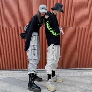 人気☆ ウエストゴム イージーパンツ カーゴパンツ 男女兼用 韓国ファッション(ワークパンツ/カーゴパンツ)