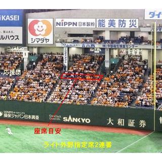 ★5月11日(土) 巨人vsヤクルト F18 ライト外野指定席ペア★(野球)