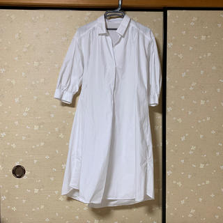 ジーユー(GU)のGU Aラインシャツワンピース(7分袖)(ひざ丈ワンピース)