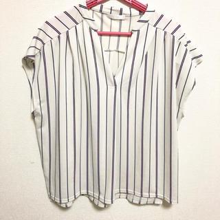 シューラルー(SHOO・LA・RUE)のWORLD shoolarue シューラルー ストライプ シャツ L(シャツ/ブラウス(半袖/袖なし))
