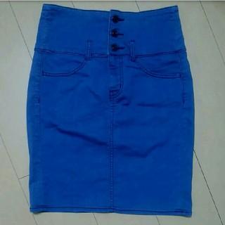 ジーユー(GU)のGU ハイウエストデニムスカート(ひざ丈スカート)