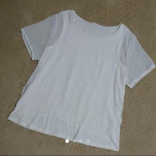 ジーユー(GU)のGU シフォン Tシャツ 白 トップス(Tシャツ(半袖/袖なし))