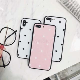 大人可愛いiPhoneケース 白ハート柄 ピンク色(iPhoneケース)