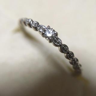 ココカル  K10 一粒ダイヤ フリル ピンキーリング 5号(リング(指輪))