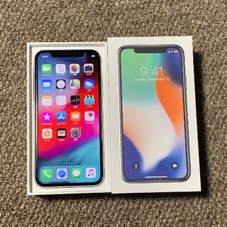 アップル(Apple)のiPhoneX 64GB au 液晶無傷 電池95% 判定○APケア+20年4月(スマートフォン本体)