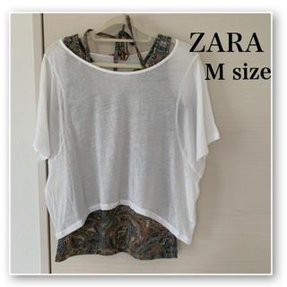 ザラ(ZARA)のZARA♡ショート丈 Tシャツ♡デザイン♡白♡Uネック♡無地(Tシャツ(半袖/袖なし))