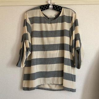 シューラルー(SHOO・LA・RUE)の美品☆ボーダー七分袖トップス(Tシャツ(長袖/七分))