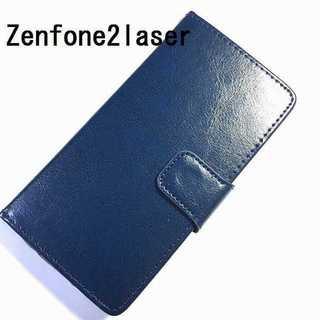 zenfone2laser ネイビー シンプル レザー(Androidケース)