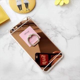 ホルダーリング付き ミラー スマホケース iPhone(iPhoneケース)