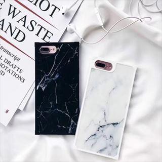 マーブル 大理石風 ホワイト ブラック iPhone スマホケース(iPhoneケース)