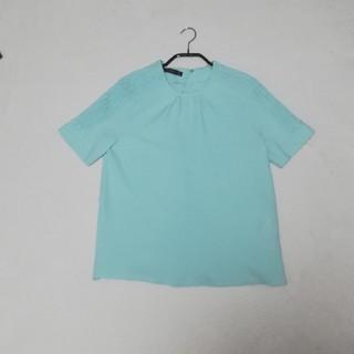 ザラ(ZARA)のZARA 春色半袖トップス ブラウス Tシャツ カットソー ミントグリーン 美品(シャツ/ブラウス(半袖/袖なし))