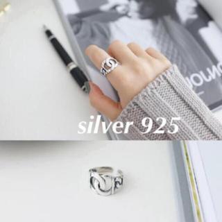 ❤︎新作❤︎ シルバー925製オープンリング 太 チェーン シンプル 可愛い(リング(指輪))