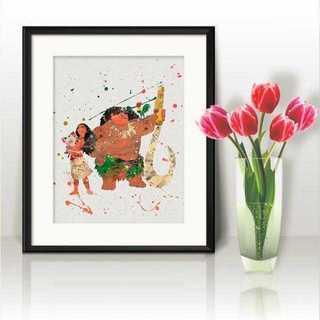 ディズニー(Disney)のモアナ&マウイ2(モアナと伝説の海)アートポスター【額縁つき・送料無料!】(ポスター)