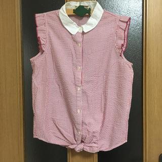 アズノゥアズピンキー(AS KNOW AS PINKY)のAS KNOW AS PINKY ストライプピンクノースリーブシャツ(シャツ/ブラウス(半袖/袖なし))