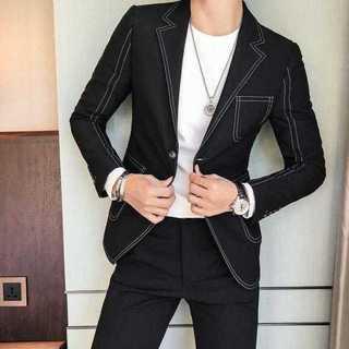 秋冬人気エリート細身メンズ髪型師ビジネス社会人スリム紳士服セットアップOT014(セットアップ)