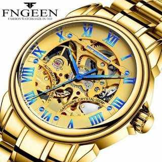 FnggenGold -1195 腕時計 メンズ ウォッチ ブルー&ゴールド(腕時計(アナログ))