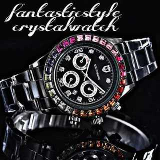 【海外限定ウォッチ】SOUTHBREG七色クリスタル ブラック 腕時計(腕時計(アナログ))