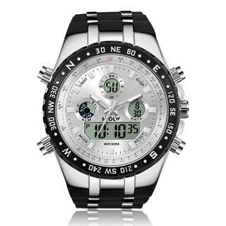 メンズ腕時計 多機能スポーツウォッチ  日本製クォーツ(ホワイト)(腕時計(アナログ))