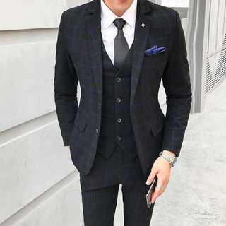 メンズスーツセットアップ大人気エリート細身ビジネス結婚式スリム紳士服 OT043(セットアップ)