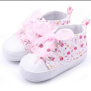 【 ファーストシューズ ☆★】花柄 女の子 赤ちゃん靴☆リボンピンク11cm(スニーカー)