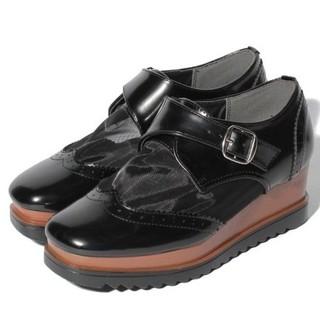 スパイラルガール(SPIRAL GIRL)のスパイラルガール メッシュモンクストラップシューズ 厚底 マーチン  Mサイズ (ローファー/革靴)