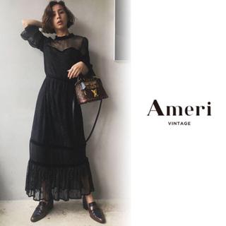 アメリヴィンテージ(Ameri VINTAGE)のSHEER LACE DRESS ブラック(ロングワンピース/マキシワンピース)