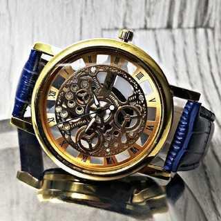 【海外限定】ブルーレザー hshdblue 腕時計 ブルー&ゴールド ローマ(腕時計(アナログ))