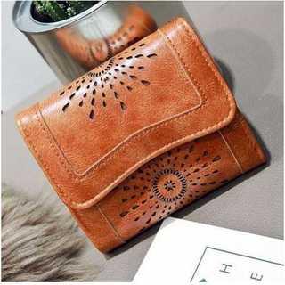 レザー カット 財布 三つ折り コンパクト ウォレット カードケース ブラウン(財布)