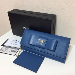 プラダ(PRADA)の新品★PRADA プラダ サファイアーノ リボン付き長財布(財布)