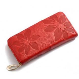 新品本革レザー長財布 可愛い花柄 レディース レッド赤ラウンドファスナー小銭入れ(財布)